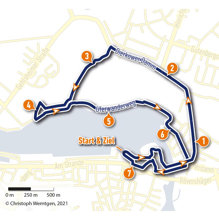 Strecke der Rostocker Marathon-Nacht 2021